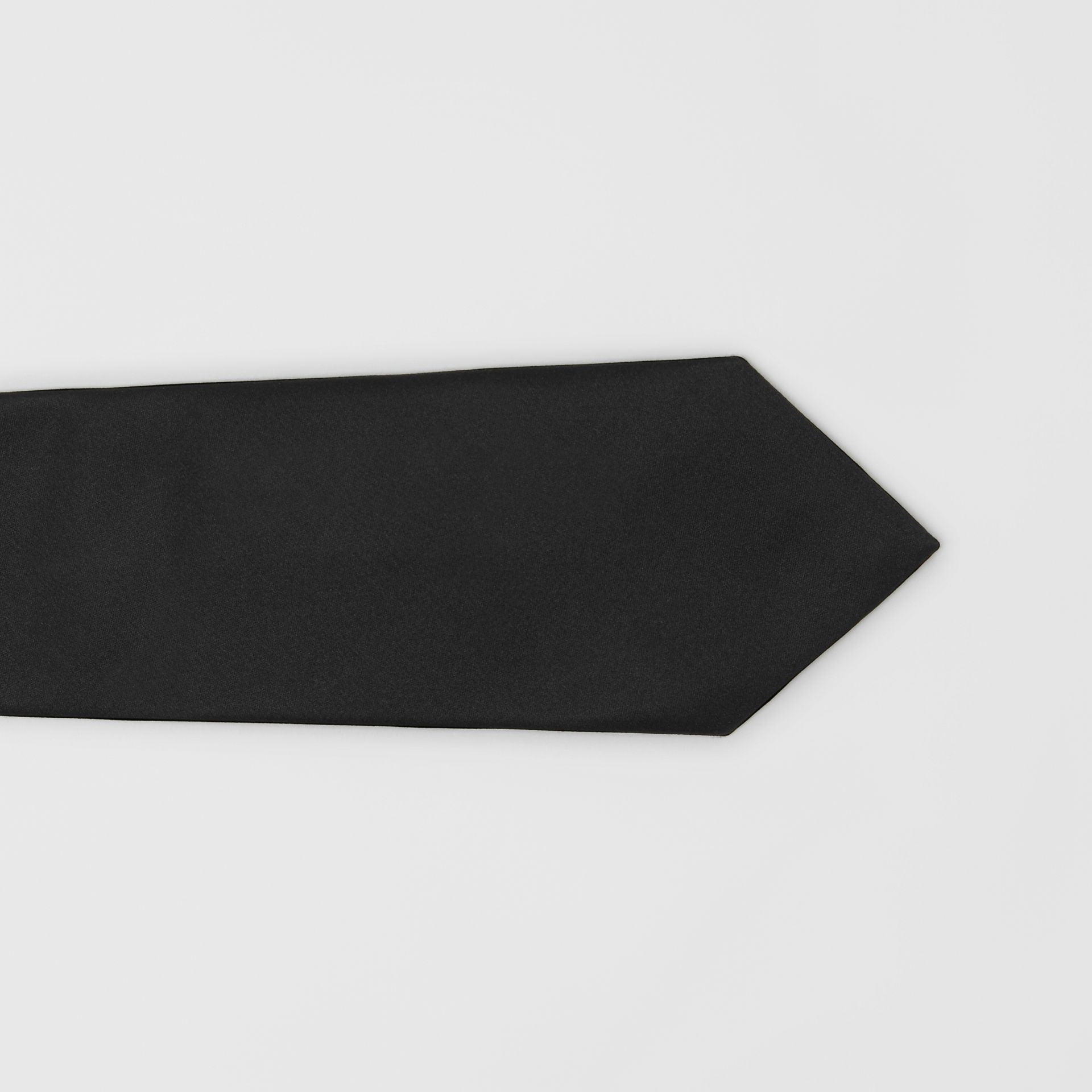 Modern Cut Silk Satin Tie in Black - Men | Burberry United Kingdom - gallery image 1