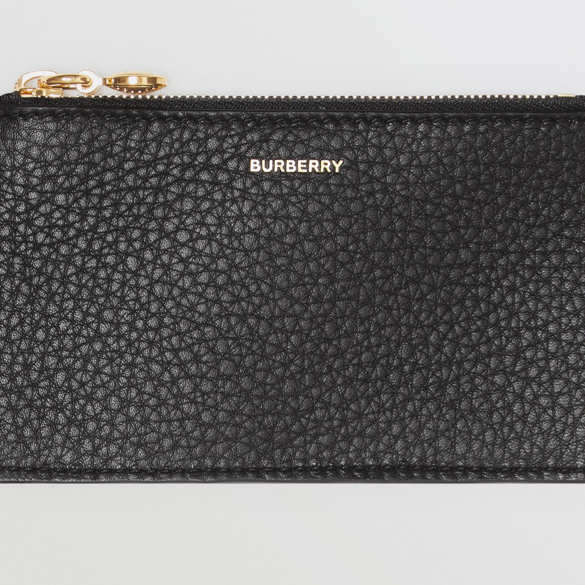 Leather Zip Card Case in Black - Women | Burberry - gallery image 1