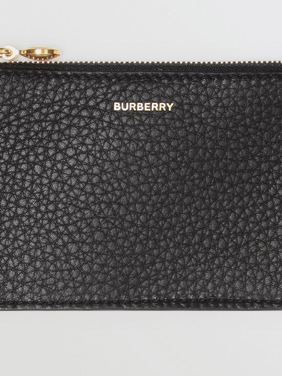 Leather Zip Card Case in Black - Women | Burberry - cell image 1