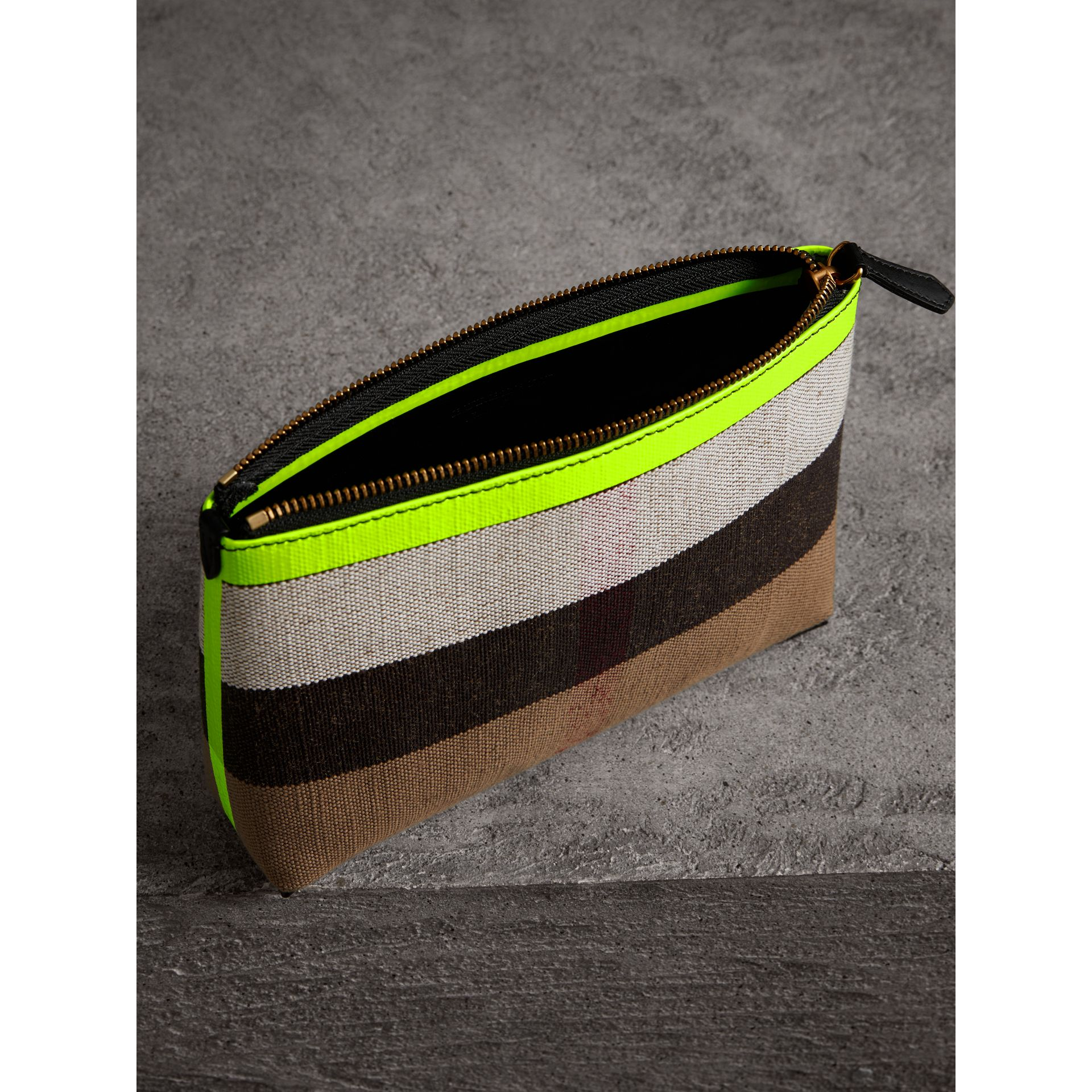 Medium Check Canvas and Leather Zip Pouch in Black/neon Yellow - Women | Burberry United Kingdom - gallery image 3
