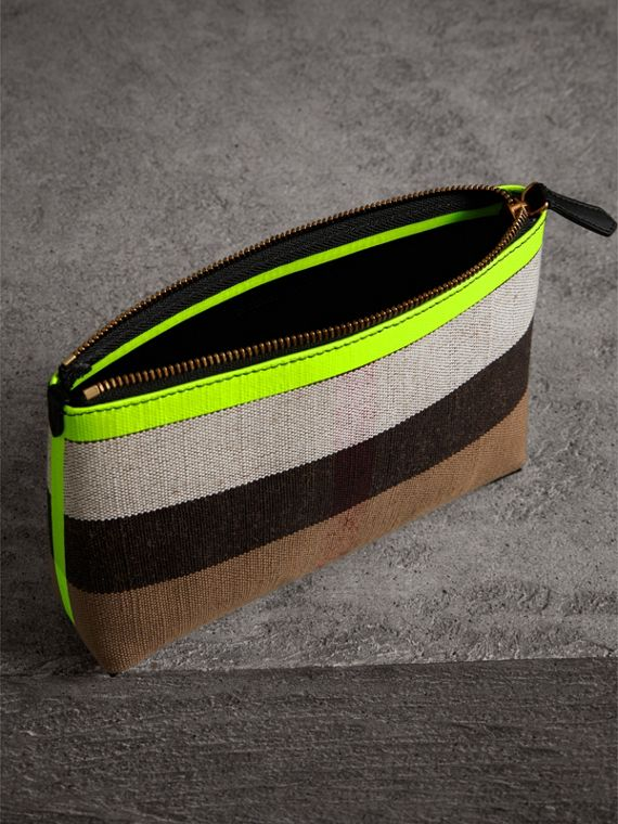 Medium Check Canvas and Leather Zip Pouch in Black/neon Yellow - Women | Burberry United Kingdom - cell image 3