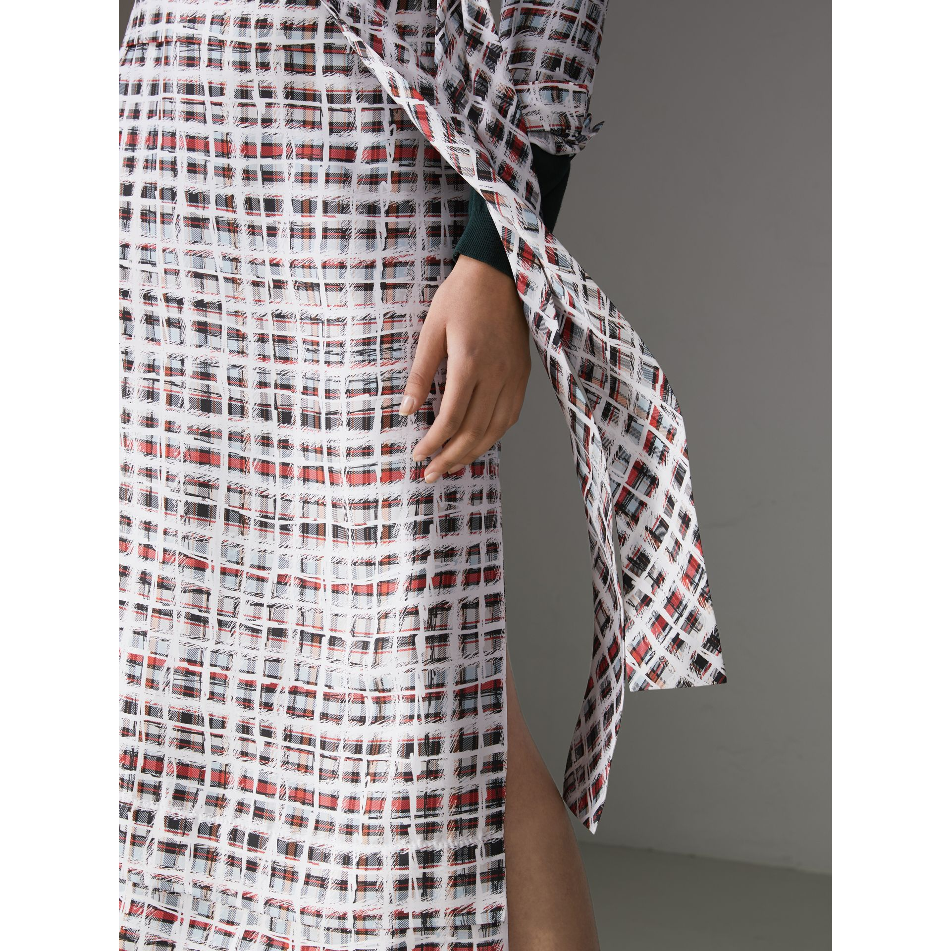 Tie-neck Scribble Check Silk Dress in Cadmium Red - Women | Burberry Australia - gallery image 1