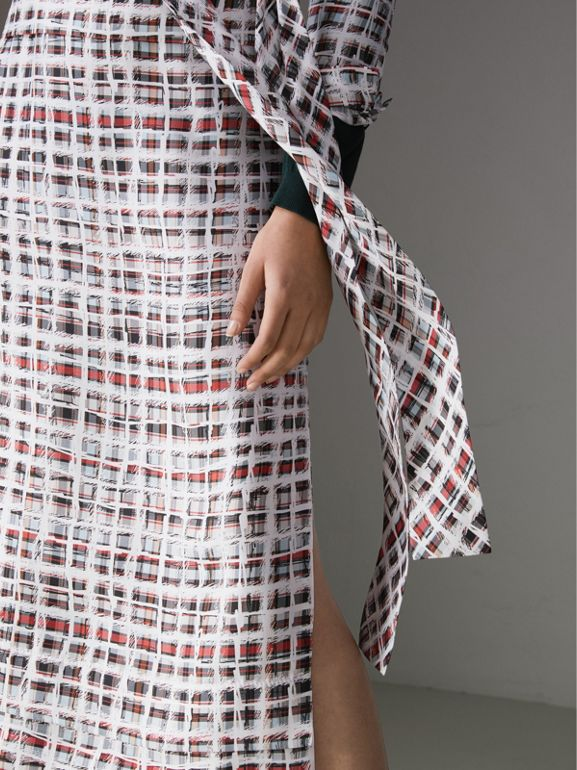 Tie-neck Scribble Check Silk Dress in Cadmium Red - Women | Burberry United Kingdom - cell image 1