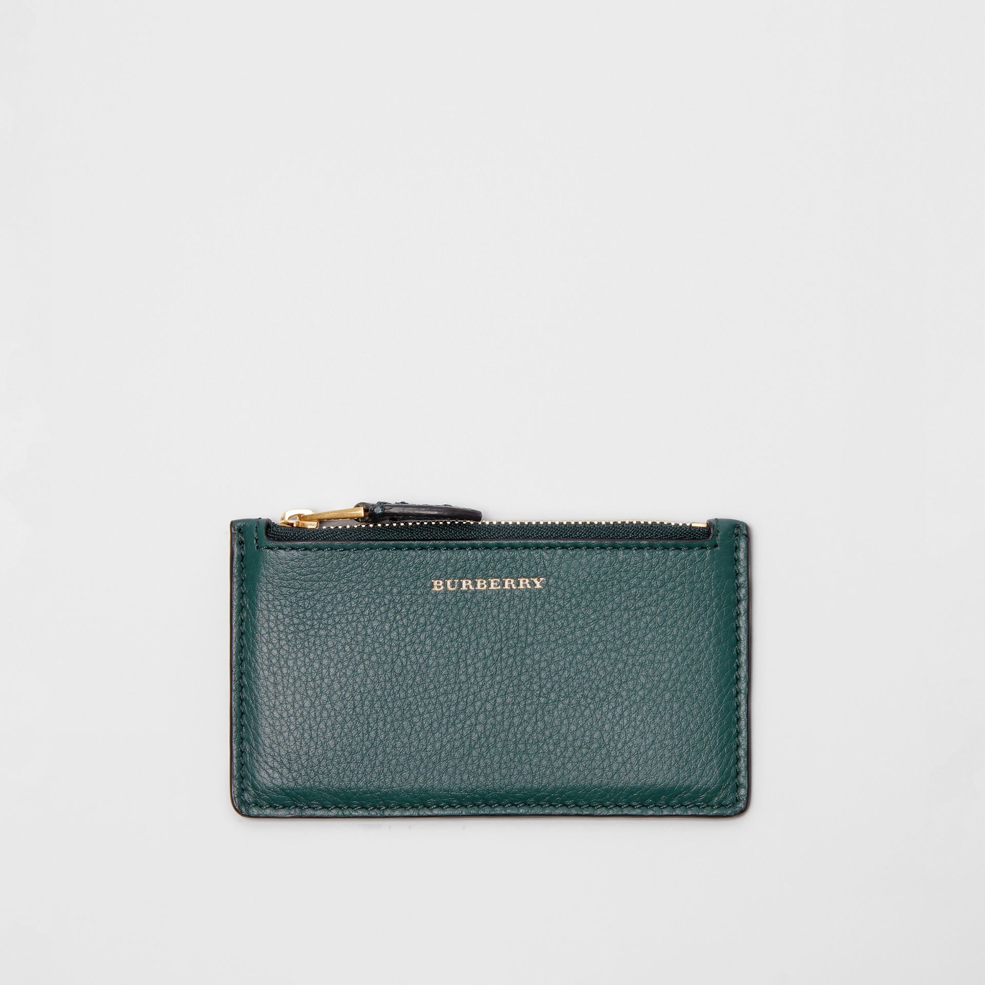 Two-tone Leather Zip Card Case in Dark Cyan | Burberry - gallery image 5
