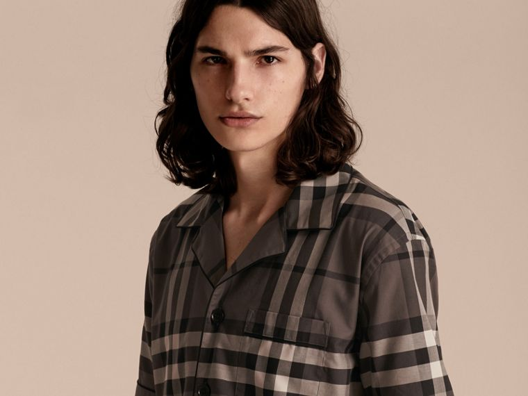 Charcoal Short-sleeved Check Cotton Pyjama-style Shirt - cell image 4