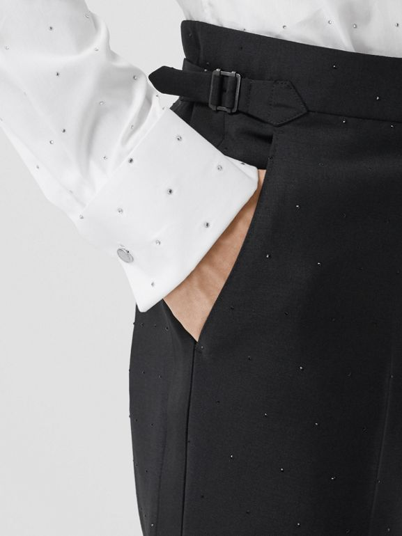 Classic Fit Embellished Mohair Wool Tailored Trousers in Black - Men | Burberry - cell image 1