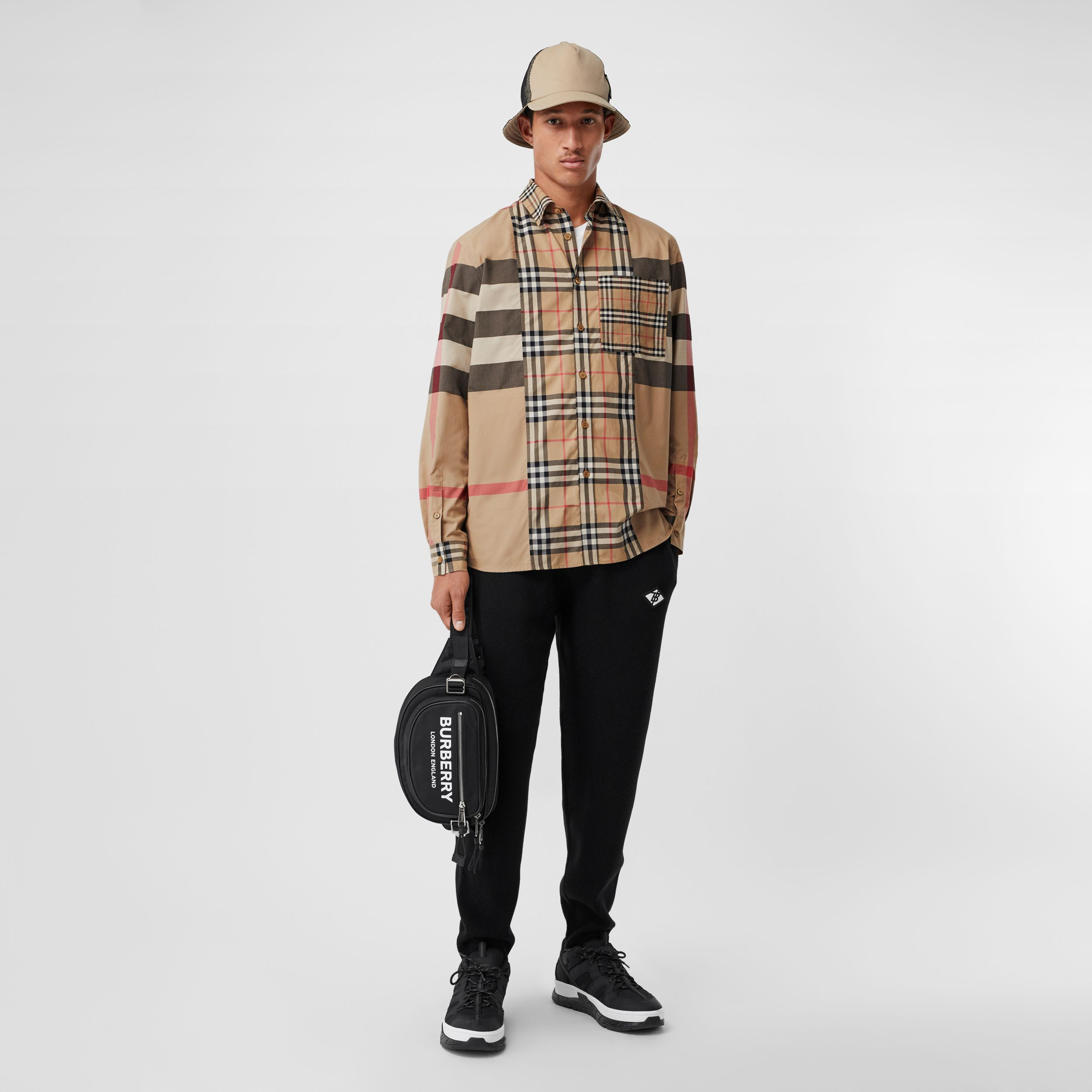 Patchwork Check Stretch Cotton Poplin Shirt in Archive Beige - Men | Burberry Australia - 1