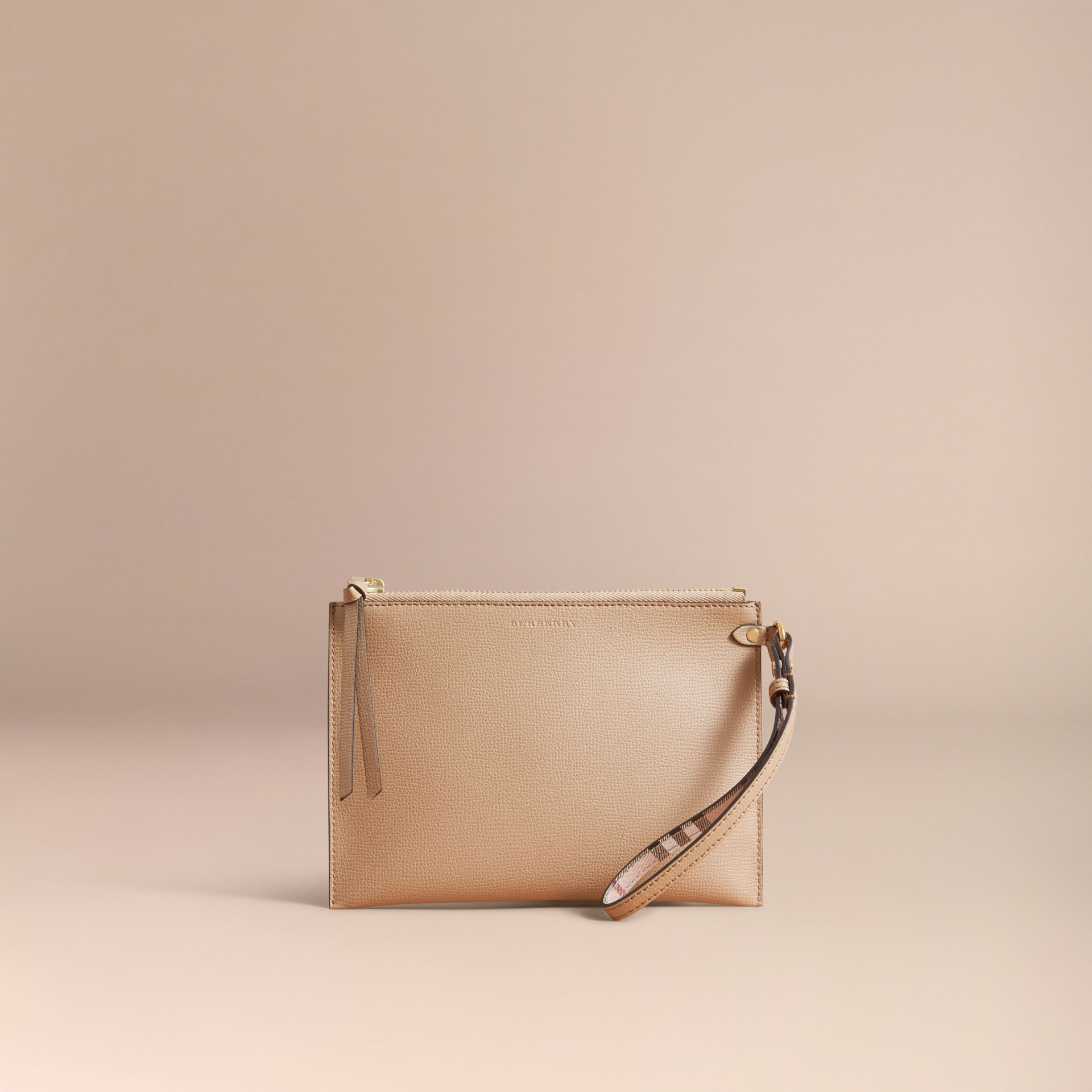 Haymarket Check and Leather Pouch in Mid Camel - Women | Burberry Singapore - gallery image 6
