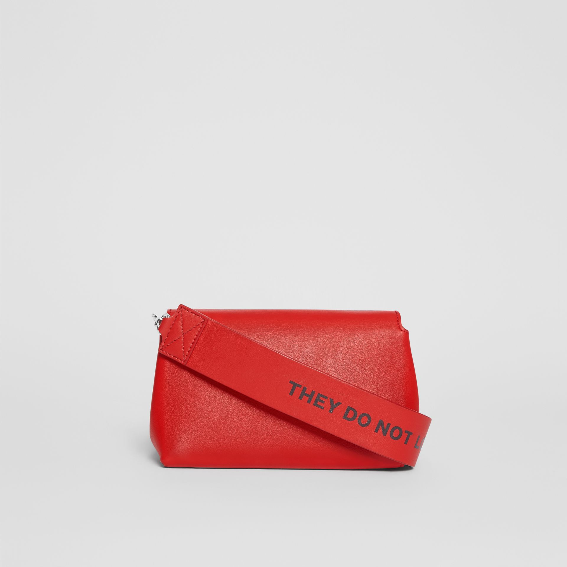 Small Quote Print Grainy Leather Crossbody Bag in Bright Military Red - Women | Burberry Singapore - gallery image 7