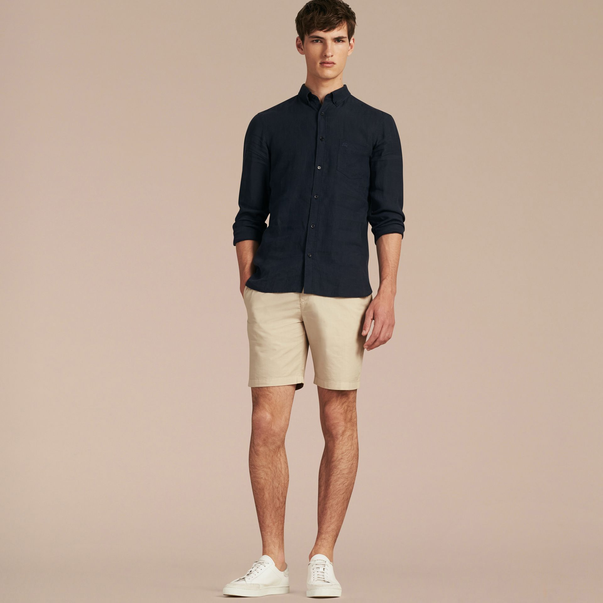 Cotton Poplin Chino Shorts Stone - gallery image 7