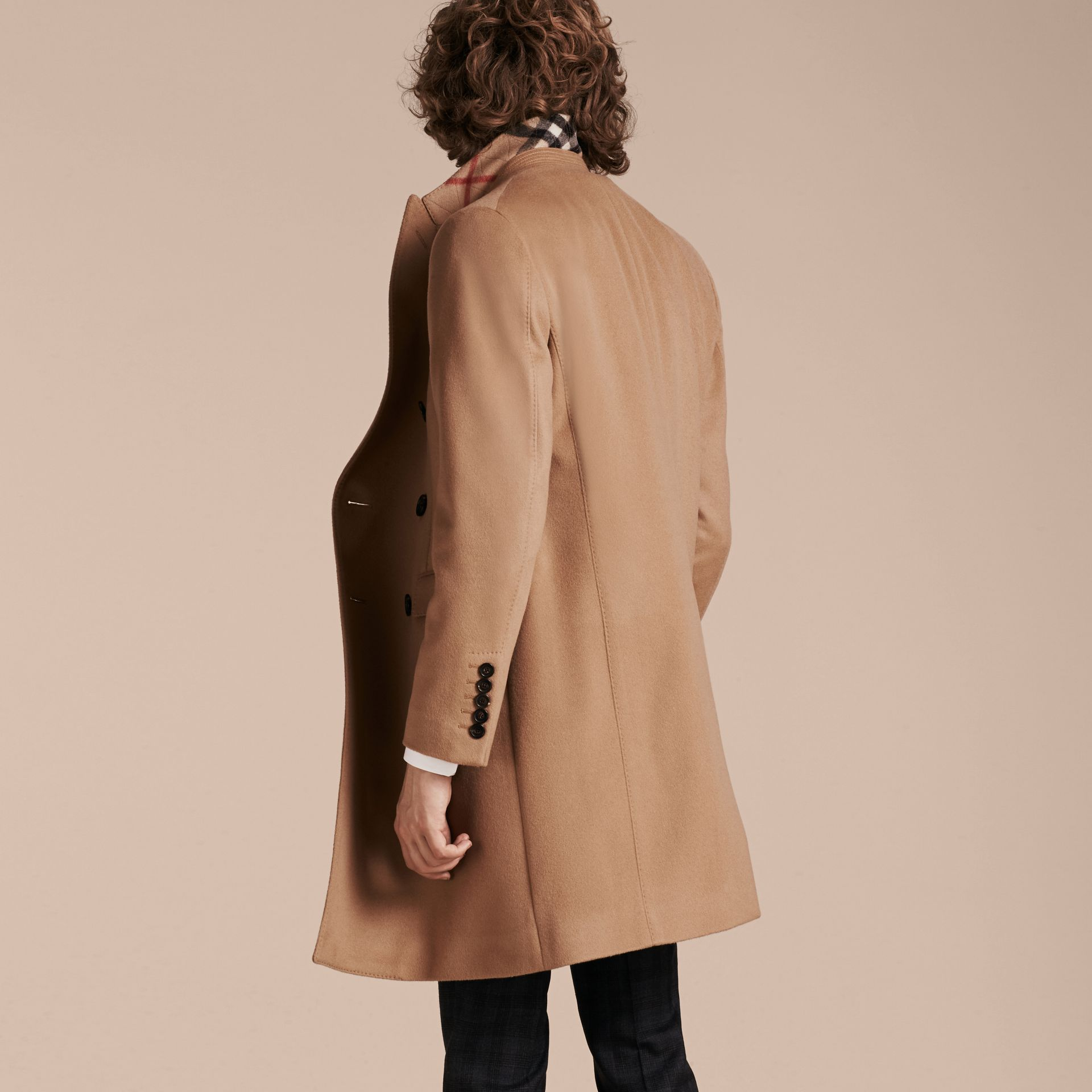Camel Double-breasted Tailored Wool Cashmere Coat - gallery image 3