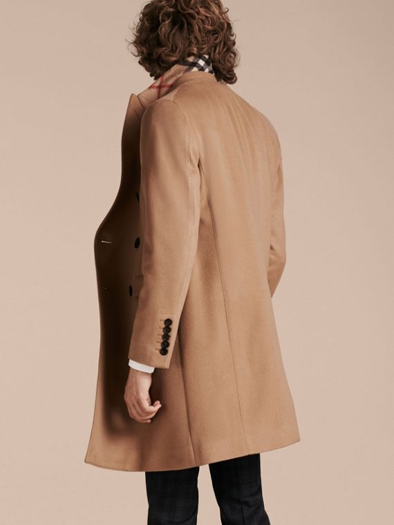 Camel Double-breasted Tailored Wool Cashmere Coat - cell image 2