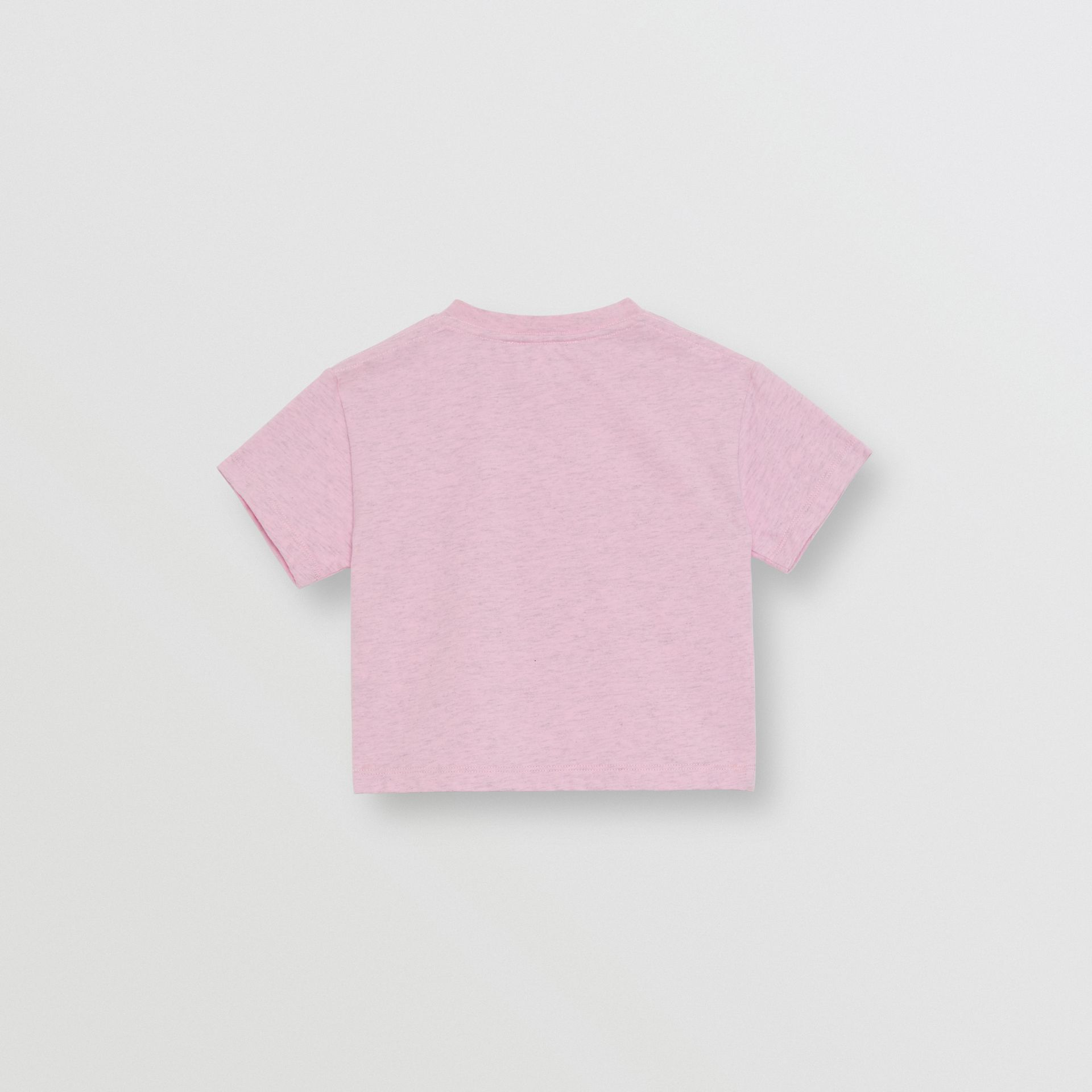 Logo Print Cotton T-shirt in Pale Neon Pink - Children | Burberry - gallery image 3