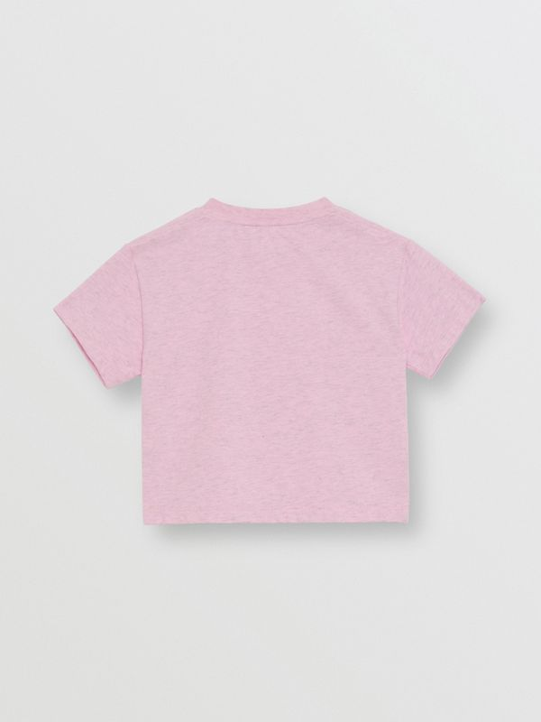 Logo Print Cotton T-shirt in Pale Neon Pink - Children | Burberry - cell image 3