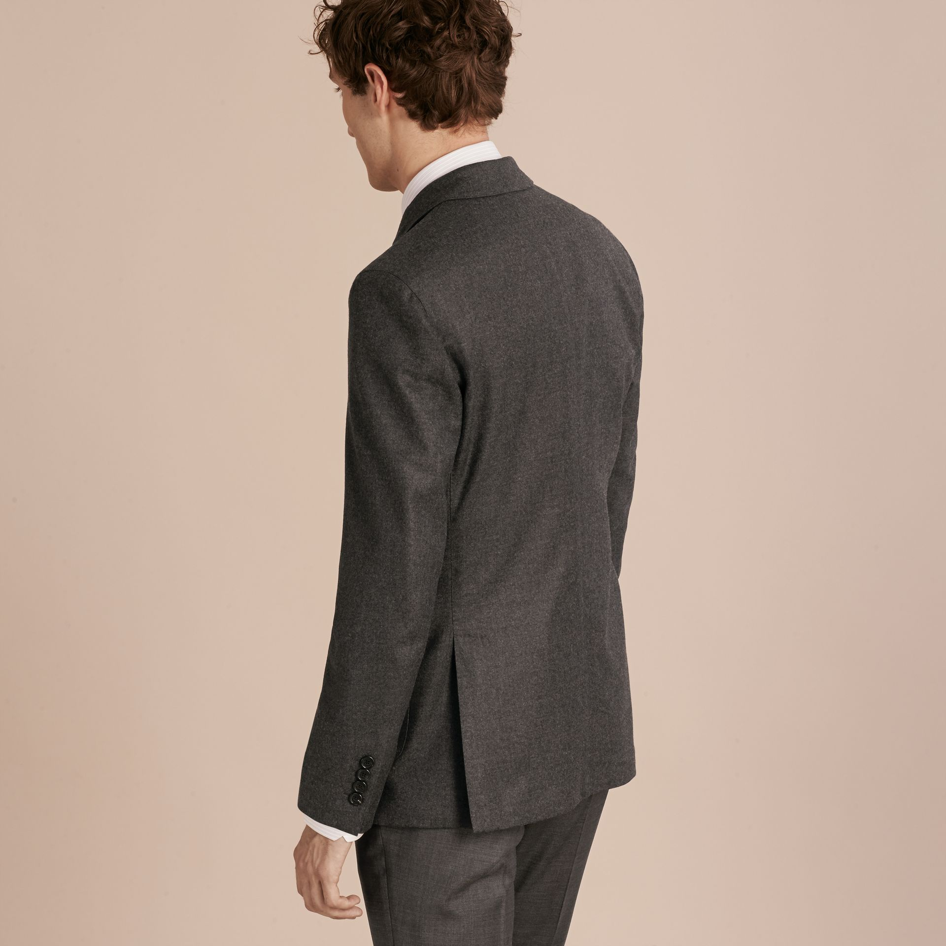 Dark grey melange Modern Fit Tailored Wool Jacket - gallery image 3