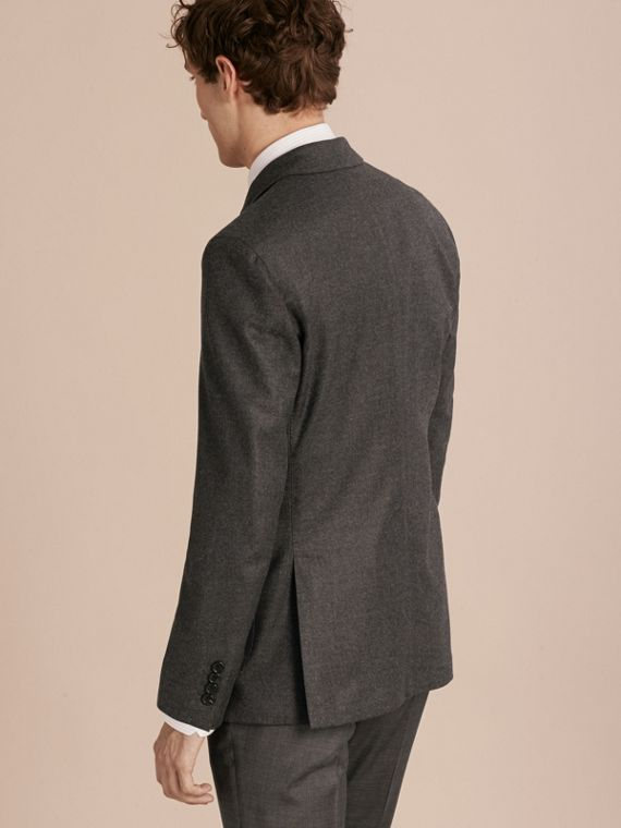 Dark grey melange Modern Fit Tailored Wool Jacket - cell image 2
