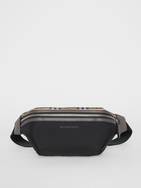 Medium Vintage Check and Nylon Bum Bag in Black | Burberry - cell image 2