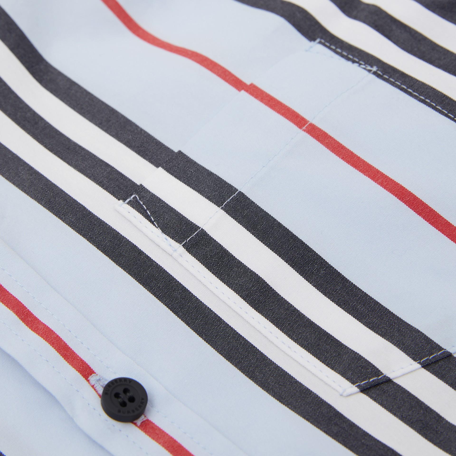 Short-sleeve Icon Stripe Cotton Poplin Shirt in Pale Blue | Burberry United Kingdom - gallery image 1