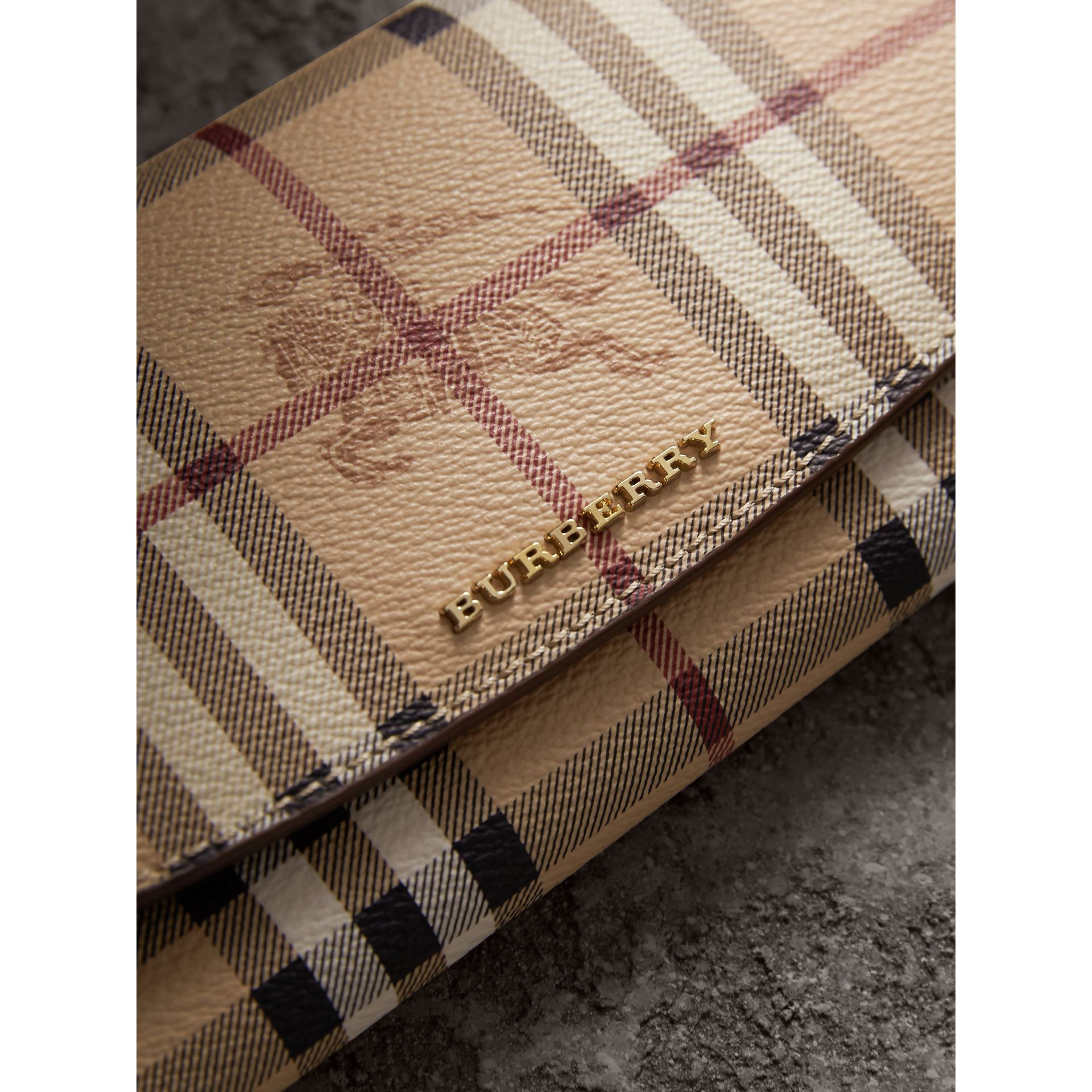 Haymarket Check and Leather Slim Continental Wallet in Mid Camel - Women | Burberry - gallery image 2