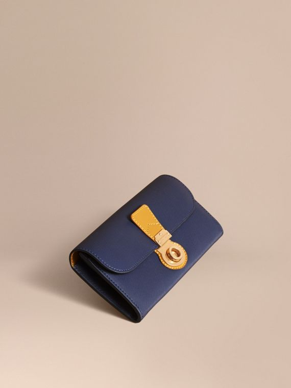 Two-tone Trench Leather Continental Wallet Ink Blue/ochre Yellow