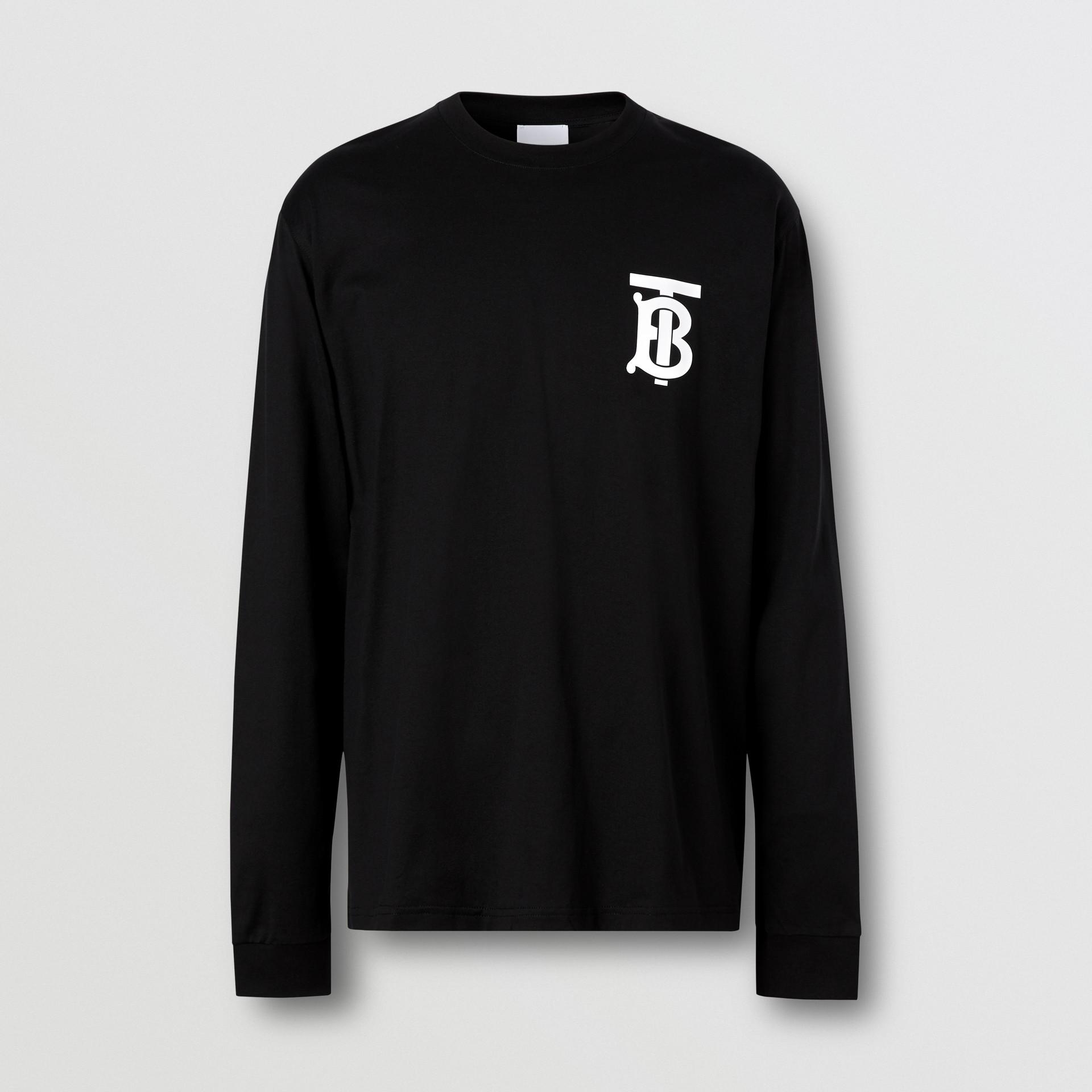 Long-sleeve Monogram Motif Cotton Top in Black - Men | Burberry - gallery image 3