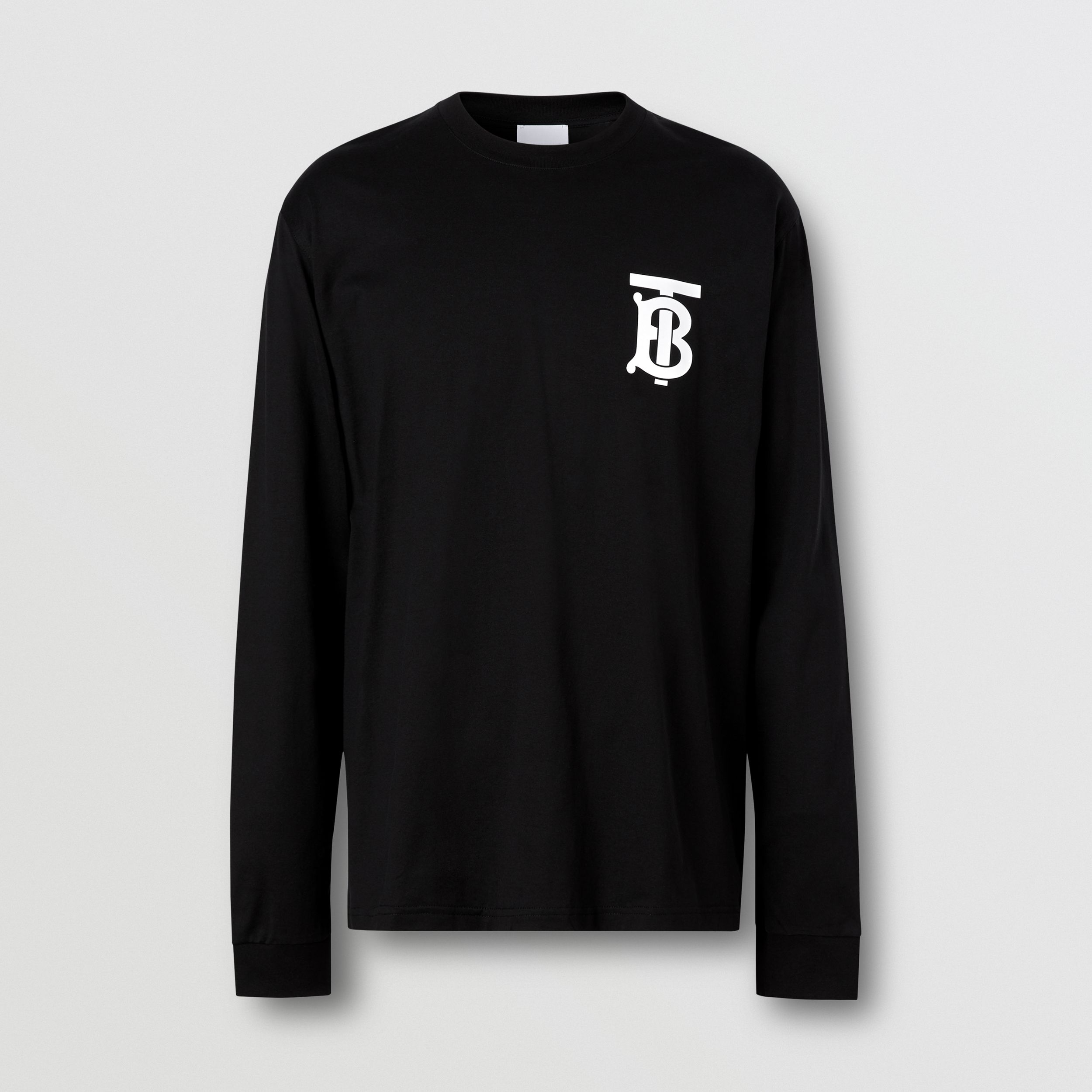 Long-sleeve Monogram Motif Cotton Top in Black - Men | Burberry Hong Kong S.A.R. - 4