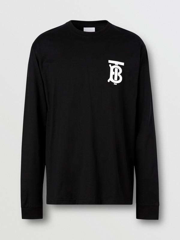 Long-sleeve Monogram Motif Cotton Top in Black - Men | Burberry - cell image 3