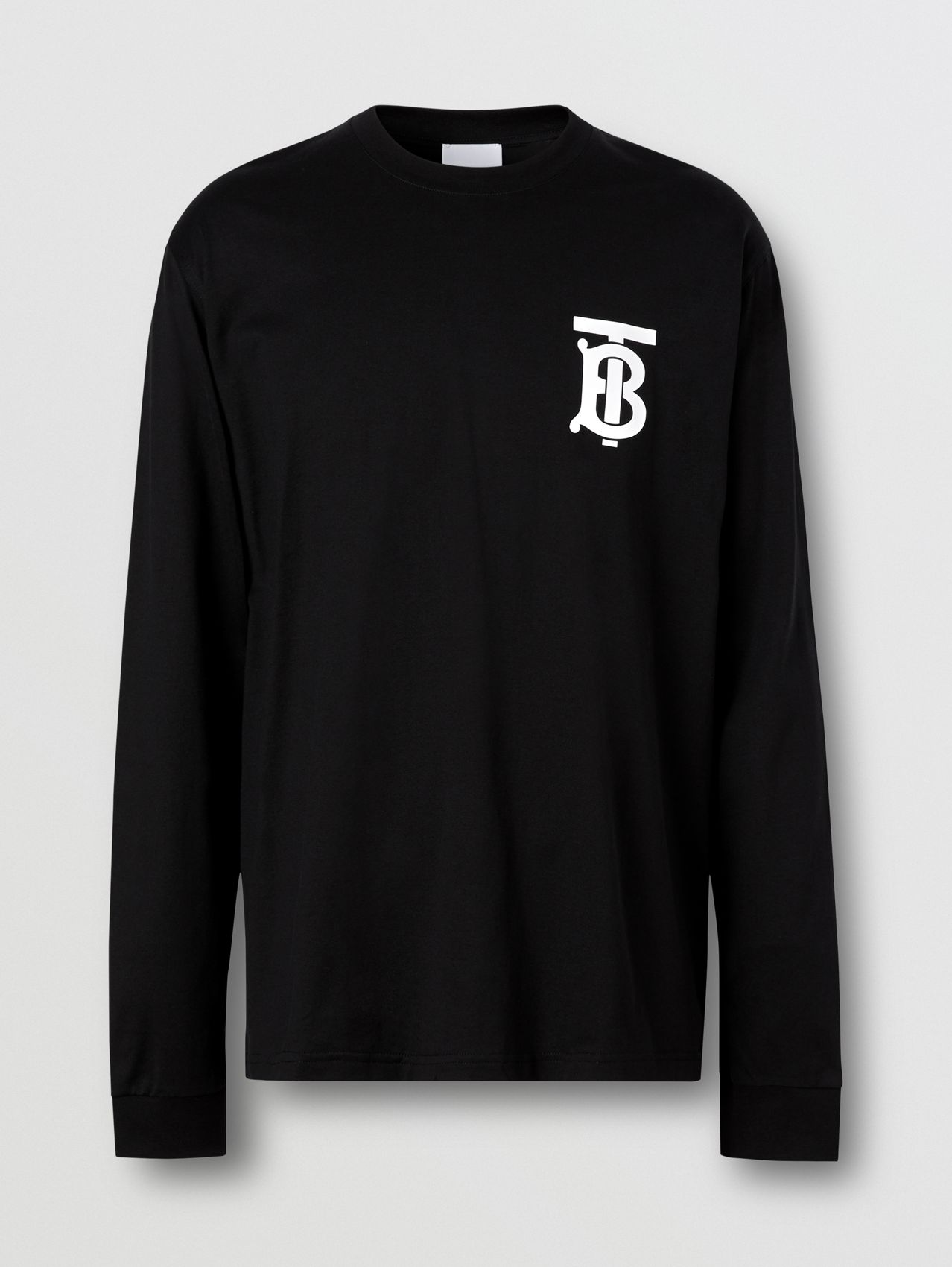 Long-sleeve Monogram Motif Cotton Top in Black