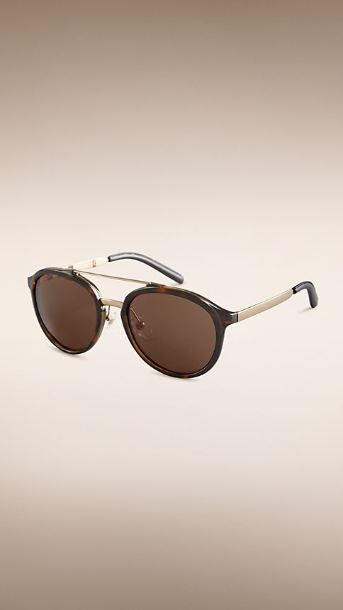 Tortoise shell Trench Collection Round Frame Sunglasses - Image 1