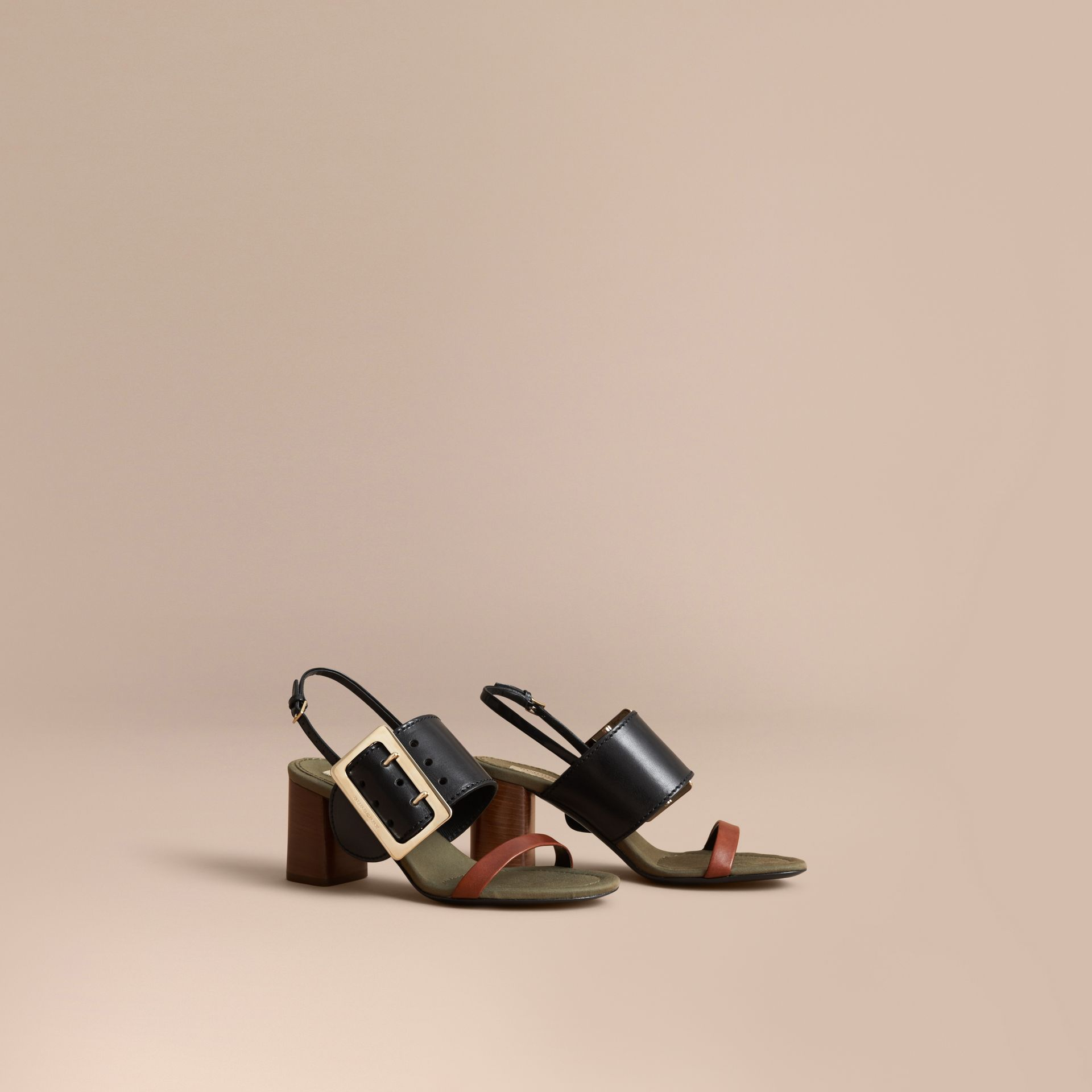 Buckle Detail Leather Sandals in Black - Women | Burberry Canada - gallery image 1