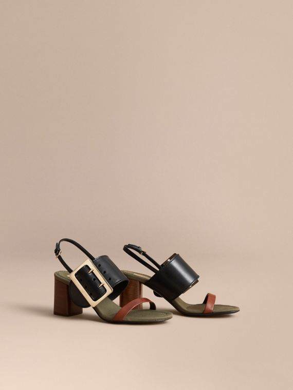 Buckle Detail Leather Sandals in Black