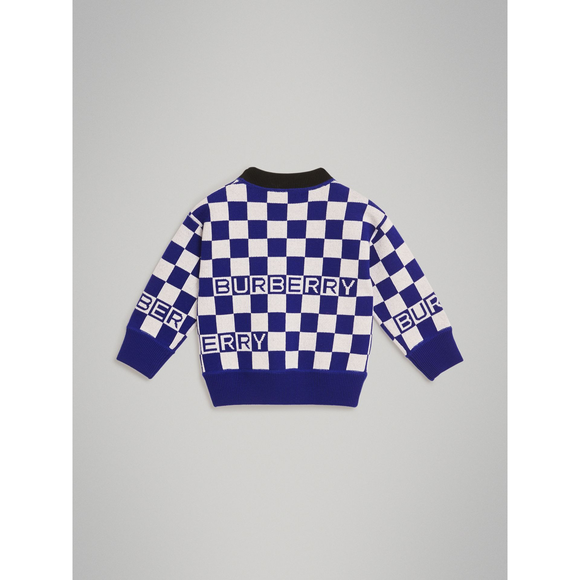 Chequer Jacquard Merino Wool Sweater in Cobalt Blue | Burberry - gallery image 3