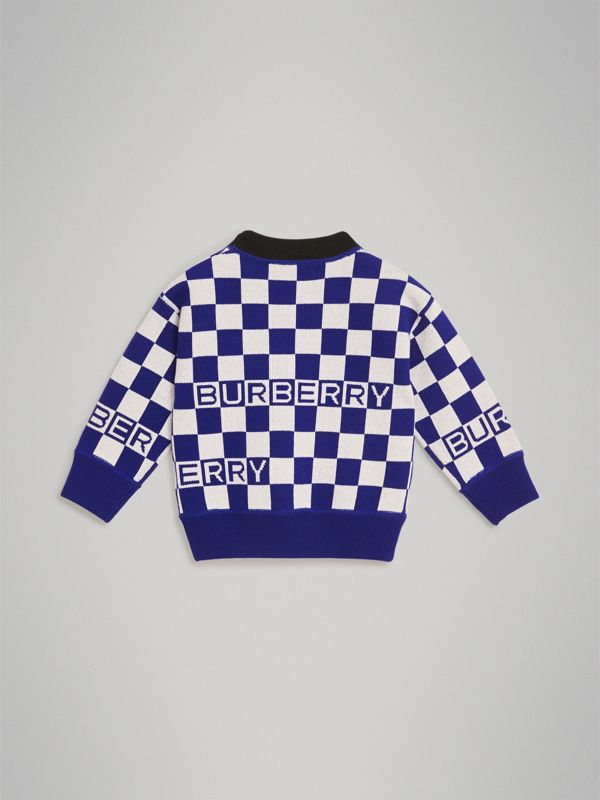 Chequer Jacquard Merino Wool Sweater in Cobalt Blue | Burberry - cell image 3