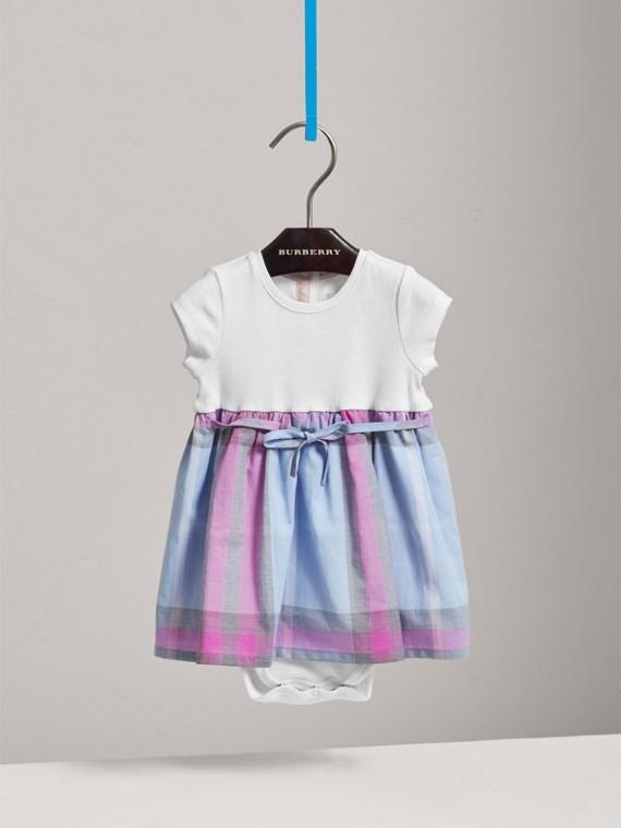 チェック コットンジャージー Tシャツドレス (チョークブルー)