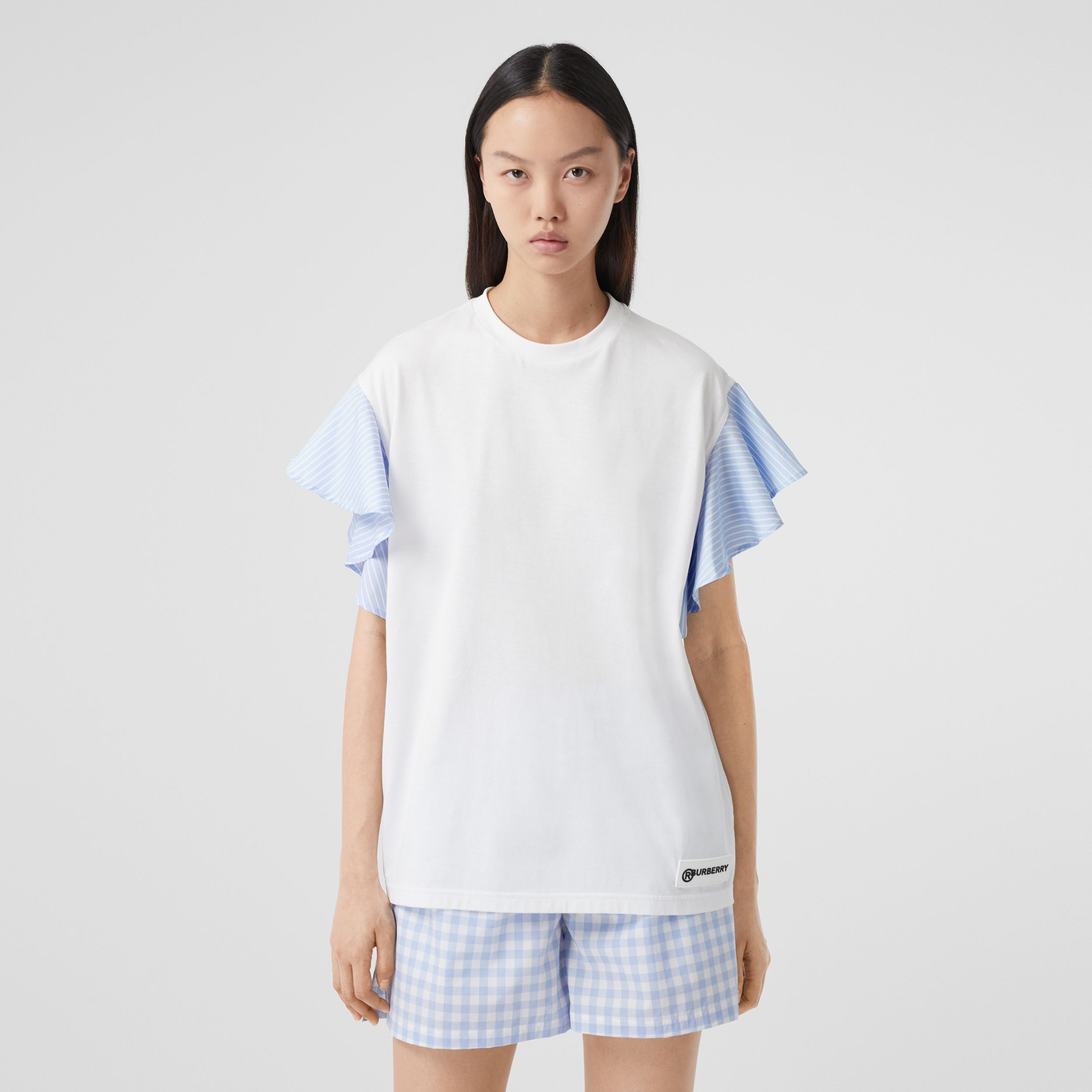 Ruffled Sleeve Cotton Oversized T-shirt in White - Women | Burberry - 1