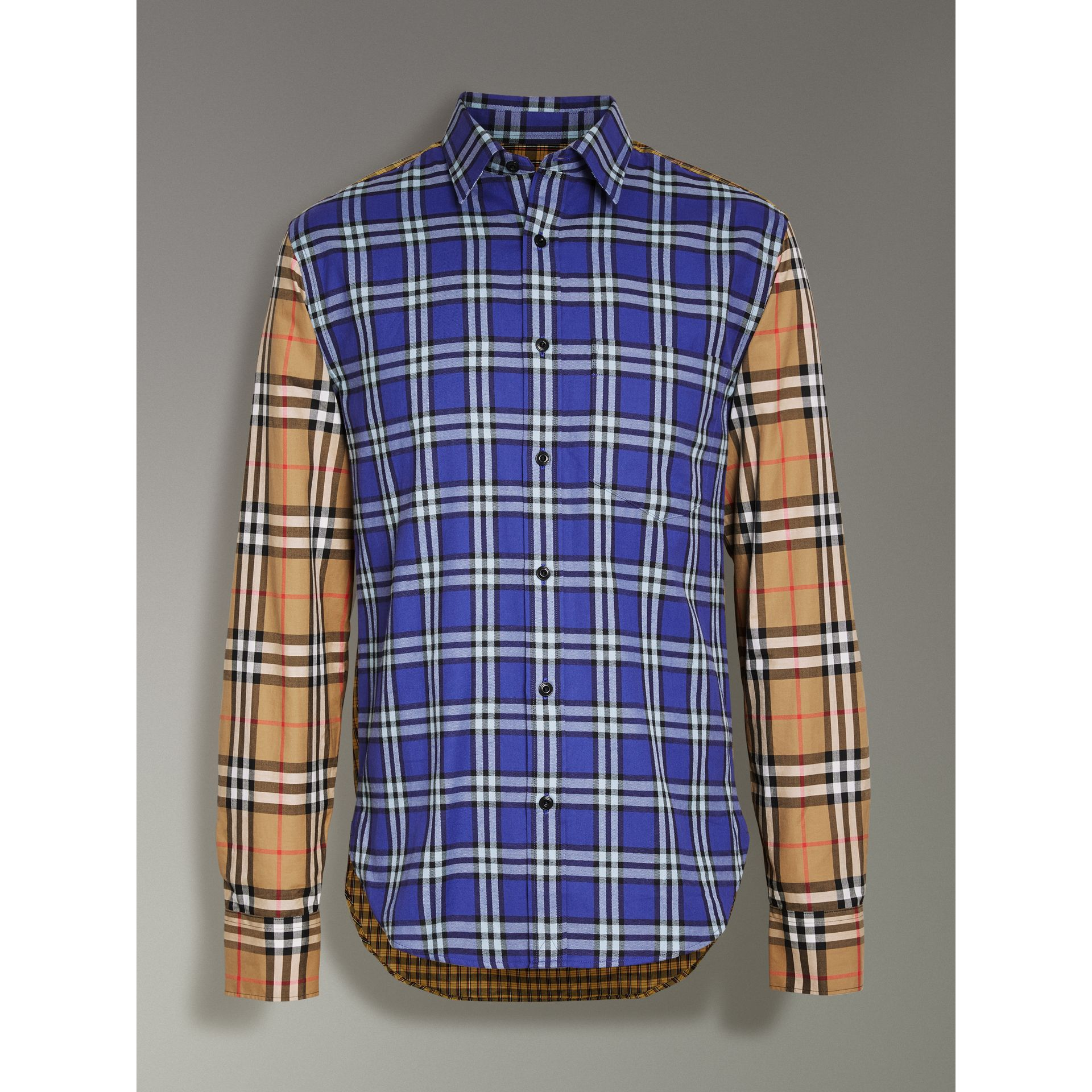 Contrast Check Cotton Shirt in Bright Lapis - Men | Burberry - gallery image 3
