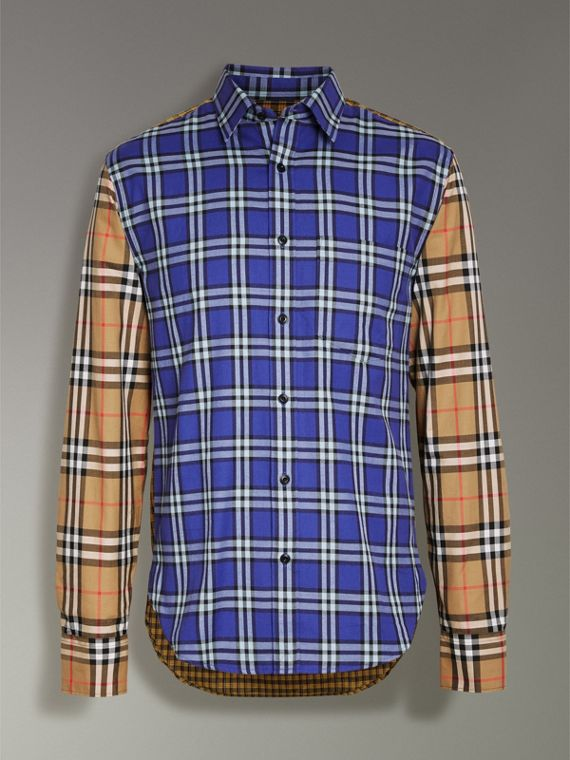 Contrast Check Cotton Shirt in Bright Lapis - Men | Burberry Hong Kong - cell image 3