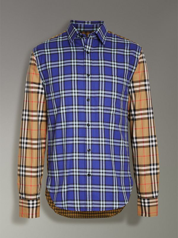 Contrast Check Cotton Shirt in Bright Lapis - Men | Burberry Canada - cell image 3