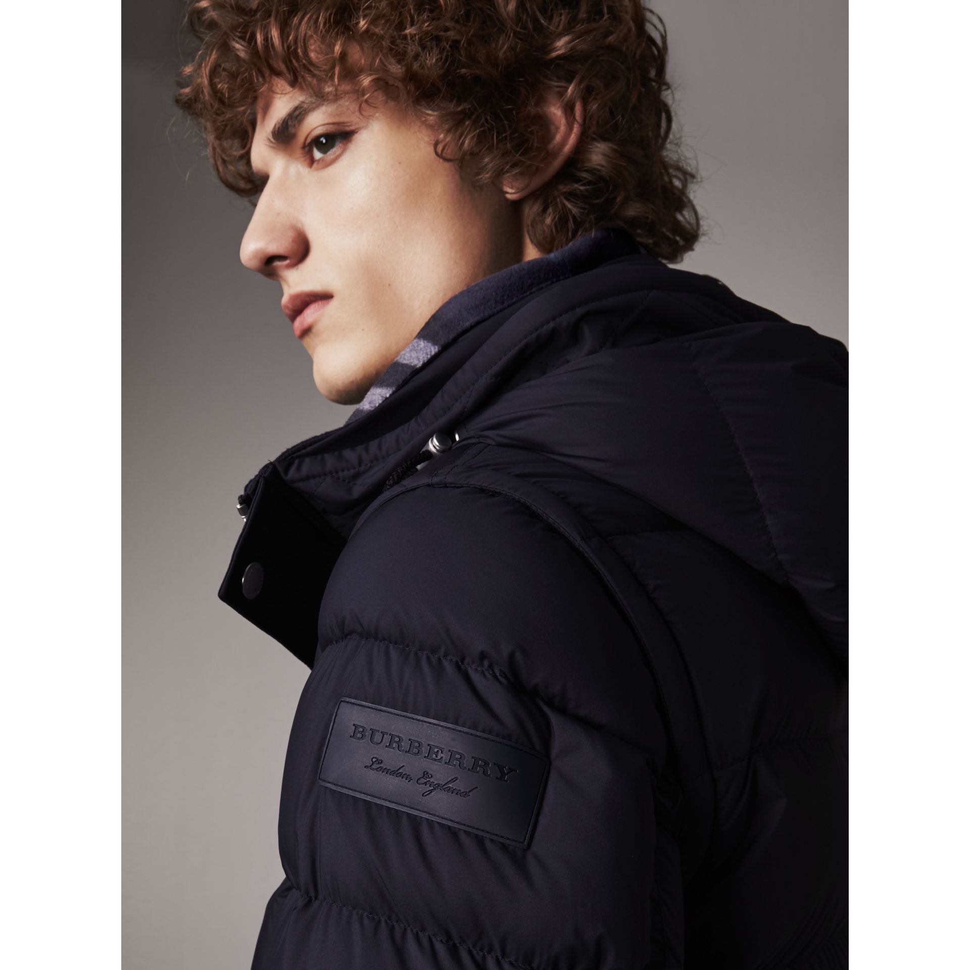 Detachable-sleeve Down-filled Puffer Jacket in Navy - Men | Burberry Australia - gallery image 1