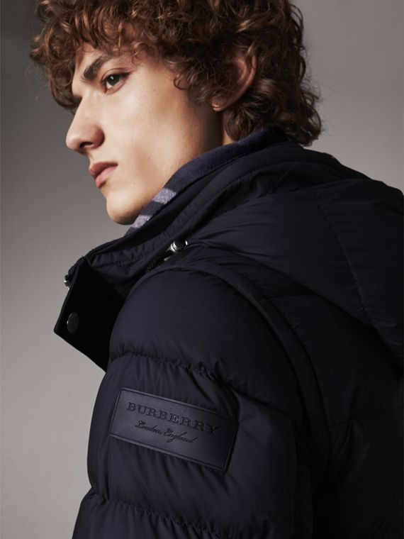 Detachable-sleeve Down-filled Puffer Jacket in Navy