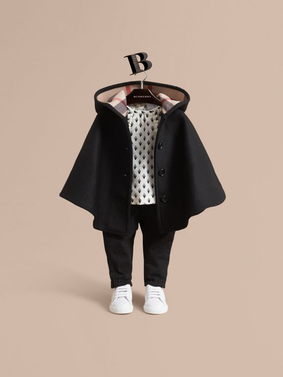 Hooded Check Detail Wool A-line Cape in Black