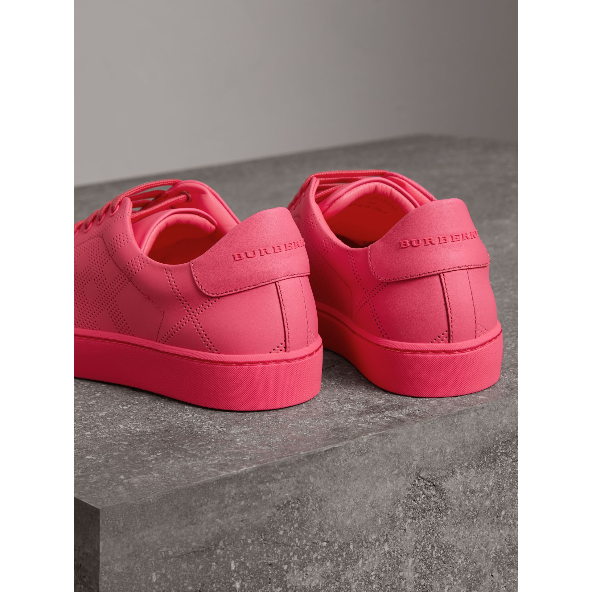 Perforated Check Leather Sneakers in Neon Pink - Women | Burberry United States - gallery image 2