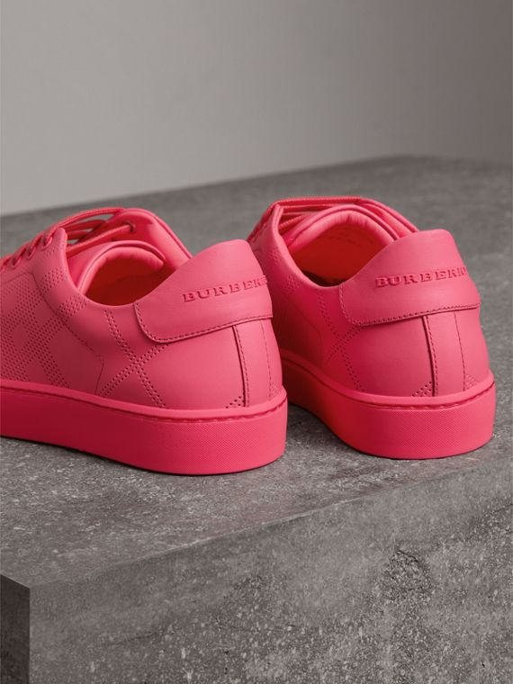 Perforated Check Leather Trainers in Neon Pink - Women | Burberry - cell image 2