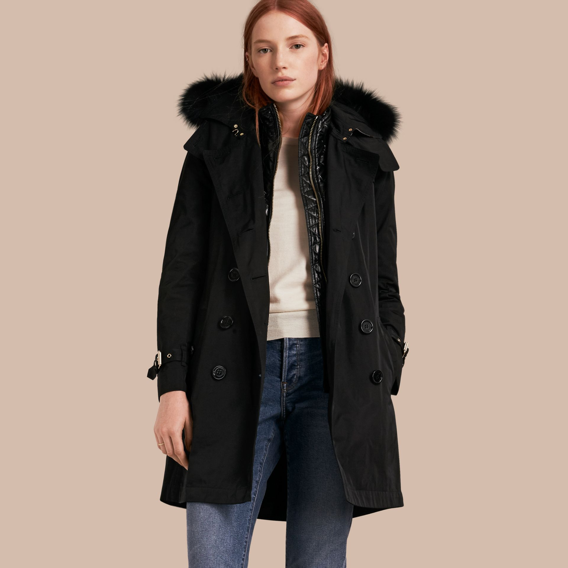 Fur-trimmed Hood Trench Coat with Detachable Gilet Black - gallery image 1
