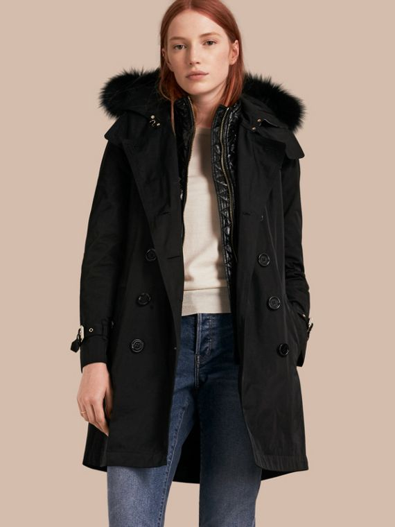 Fur-trimmed Hood Trench Coat with Detachable Gilet Black