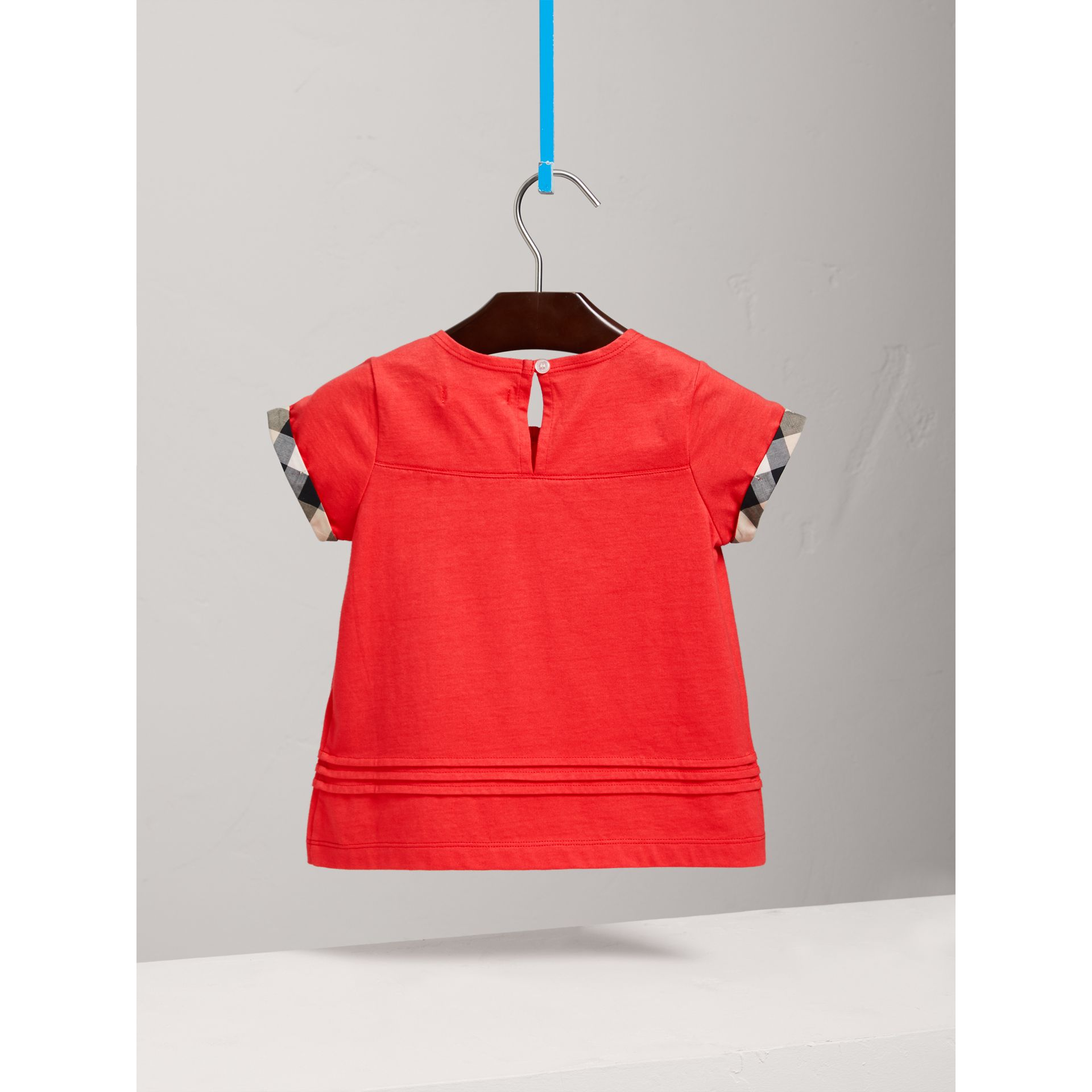 Pleat and Check Detail Cotton T-shirt in Bright Orange Red - Girl | Burberry - gallery image 3