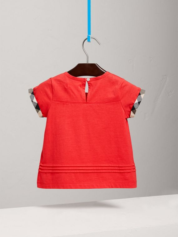 Pleat and Check Detail Cotton T-shirt in Bright Orange Red - Girl | Burberry - cell image 3