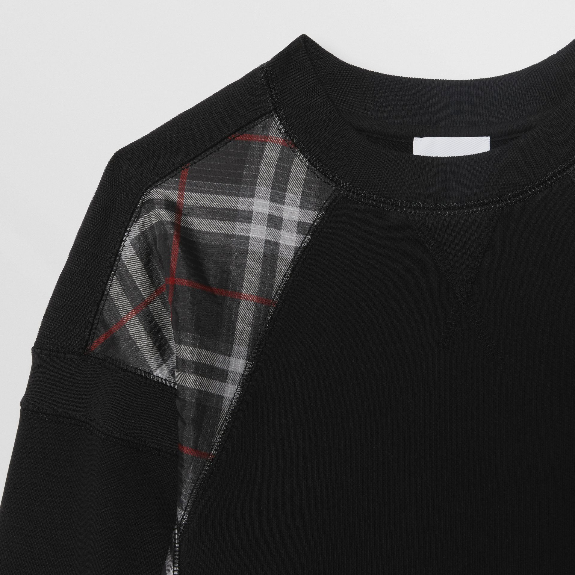 Vintage Check Panel Cotton Sweater Dress in Black | Burberry United Kingdom - gallery image 4