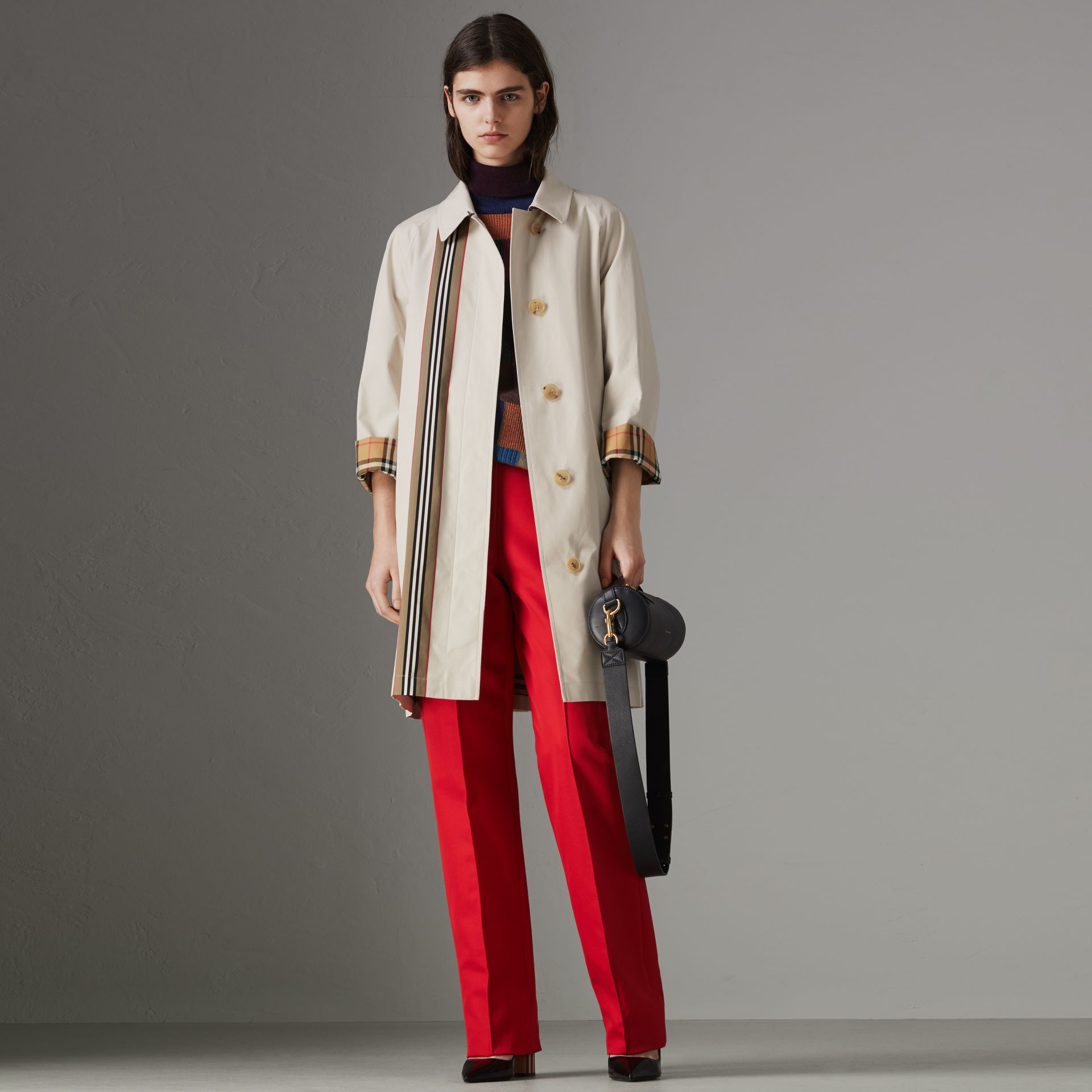 Striped Ribbon Cotton Gabardine Car Coat in Stone - Women | Burberry Australia - gallery image 0