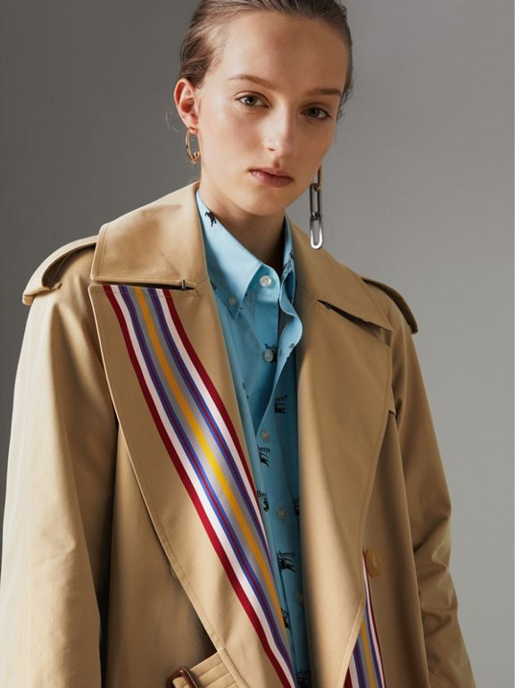 Striped Ribbon Cotton Gabardine Trench Coat in Honey - Women | Burberry - cell image 1